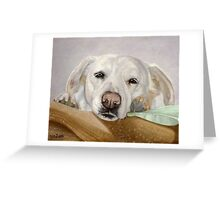 Dreamy Eyes Labrador Retriever falling asleep Greeting Card