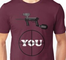 Paintball. Gun Sight on You. WHI. Unisex T-Shirt