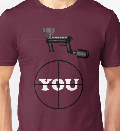 Paintball. Gun Sight on You. WHI. Unisex T-Shirt