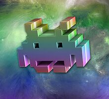 Rainbow Space Invader 3d. by LewisJamesMuzzy