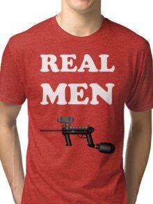 Paintball. Real Men Paintball. WHI. Tri-blend T-Shirt