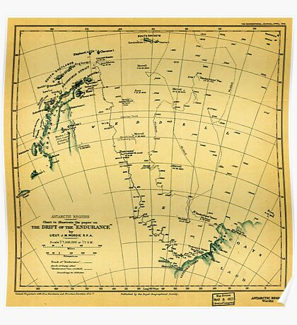 Chart to illustrate the paper on the drift of the Endurance - antarctica 1918 Poster