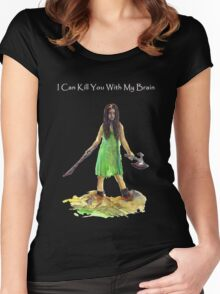 River Tam I Can Kill You With My Brain Dark Color T-shirts Grey Letters Version Women's Fitted Scoop T-Shirt
