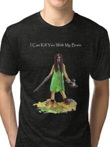 River Tam I Can Kill You With My Brain Dark Color T-shirts Grey Letters Version Tri-blend T-Shirt