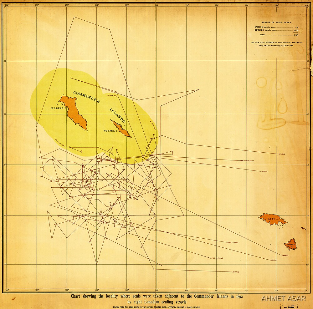Chart Showing Where the Seals Were Taken (1892) by Adam Asar