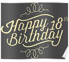 Happy 18th Birthday retro look - RAHMENLOS Poster