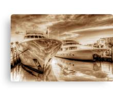 Yachts docked at the Atlantis Marina in Paradise Island, The Bahamas Canvas Print