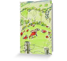 red happy cows in tweed valley Greeting Card