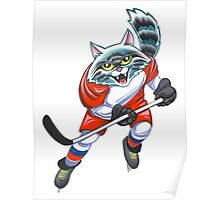 Cat  hockey player Poster