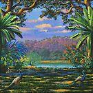 Backdrop for three altars by Vrindavan Das