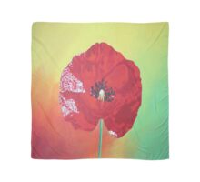 Single Stem Poppy On Red Green And Orange Background Scarf