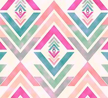 Girly Pink Turquoise Abstract Diamond Triangles by GirlyTrend