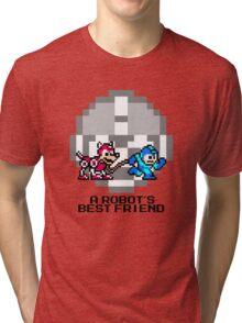 Megaman walking Rush (Black Text) Tri-blend T-Shirt
