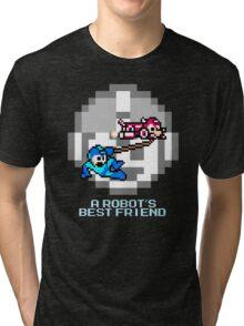 Rush dragging Megaman Tri-blend T-Shirt