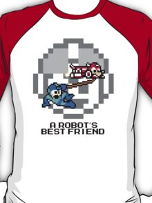 Rush dragging Megaman (Black Text) T-Shirt