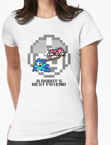 Rush dragging Megaman (Black Text) Womens Fitted T-Shirt