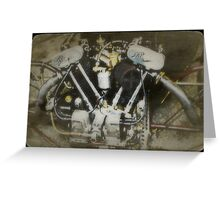 Vintage JAP Motorcycle Engine Greeting Card