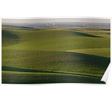 Rolling hills with distant Moose Jaw seen Poster