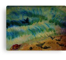 Gulls searching for food as waves crash, watercolor Canvas Print