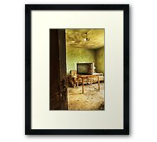 Room with tv in old abandoned house Framed Print