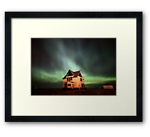 Northern Lights over Saskatchewan farmhouse Framed Print