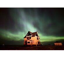 Northern Lights over Saskatchewan farmhouse Photographic Print