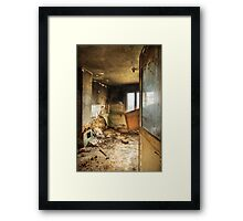 Old abandoned and destroyed living room Framed Print
