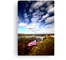 Pink boat in scenic Saskatchewan Canvas Print