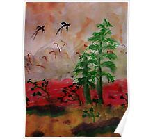 Bird flying over pines, Asian painting, watercolor Poster