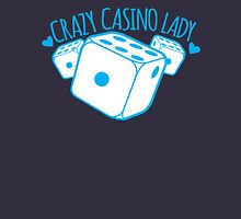 Crazy Casino Lady with three dice Womens Fitted T-Shirt