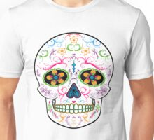 Day of the Dead Sugar Skull - Bright Multi Color Unisex T-Shirt