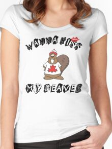 Want To Kiss My Beaver Women's Fitted Scoop T-Shirt