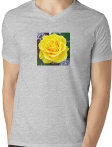 Head On View Of A Yellow Rose With Garden Background Mens V-Neck T-Shirt