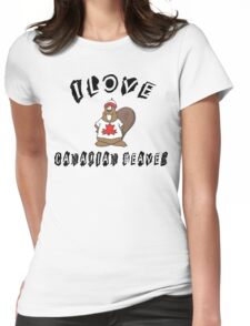 I Love Canadian Beaver Womens Fitted T-Shirt