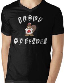 I Love Canadian Beaver Mens V-Neck T-Shirt
