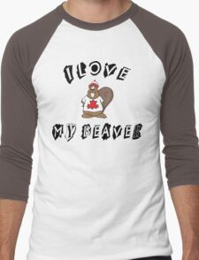 I Love My Beaver Men's Baseball ¾ T-Shirt