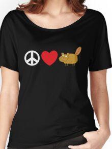 Peace Love Beaver Women's Relaxed Fit T-Shirt