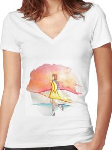 Ice skating in winter Women's Fitted V-Neck T-Shirt