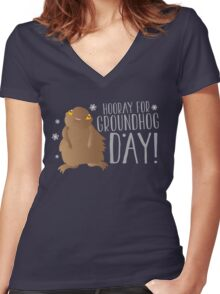 HOORAY FOR GROUNDHOG DAY! with cute little groundhog and snowflakes Women's Fitted V-Neck T-Shirt