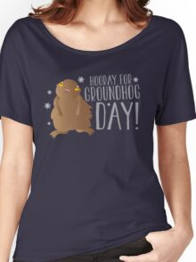 HOORAY FOR GROUNDHOG DAY! with cute little groundhog and snowflakes Women's Relaxed Fit T-Shirt