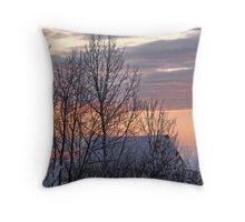Frosty Prairie Sunrise Throw Pillow