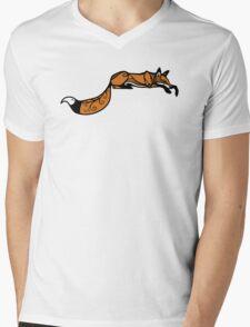 Sleeping Red Fox Mens V-Neck T-Shirt