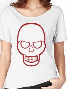 Red Outline Skull Women's Relaxed Fit T-Shirt