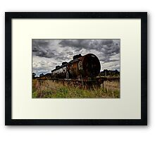 No Line Left  abandoned train carriages Framed Print