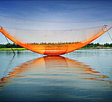 """ Shrimp Nets "" - Hoi An - Vietnam by Malcolm Heberle"