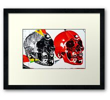 Double Skulls Graffiti - Miami Street Art Framed Print