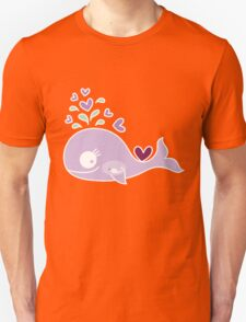 Whimsical Cute Magenta Purple Pregnant Mommy Whale Unisex T-Shirt