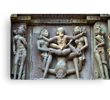 Kamasutra carvings on Khajuraho temple walls Canvas Print