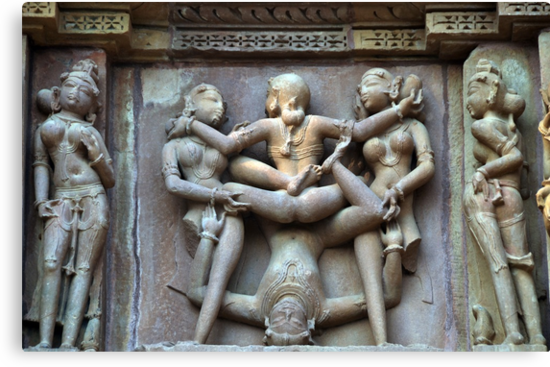 Kamasutra carvings on Khajuraho temple walls by AravindTeki