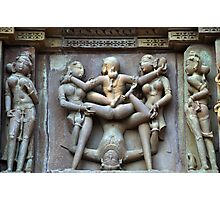 Kamasutra carvings on Khajuraho temple walls Photographic Print